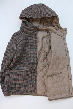ARMEN Heat Quilt Reversible Hooded Jacket OLIVE Check X IRAQ (6)