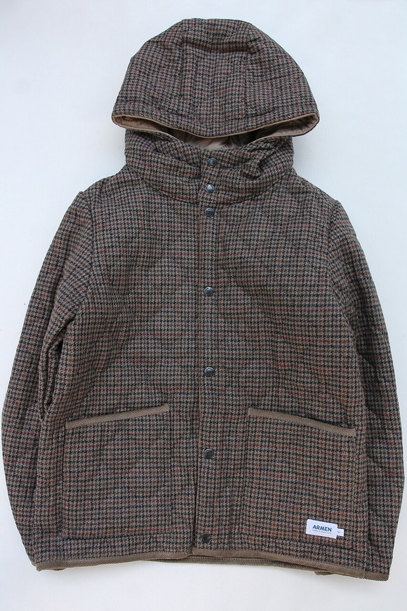 ARMEN Heat Quilt Reversible Hooded Jacket OLIVE Check X IRAQ