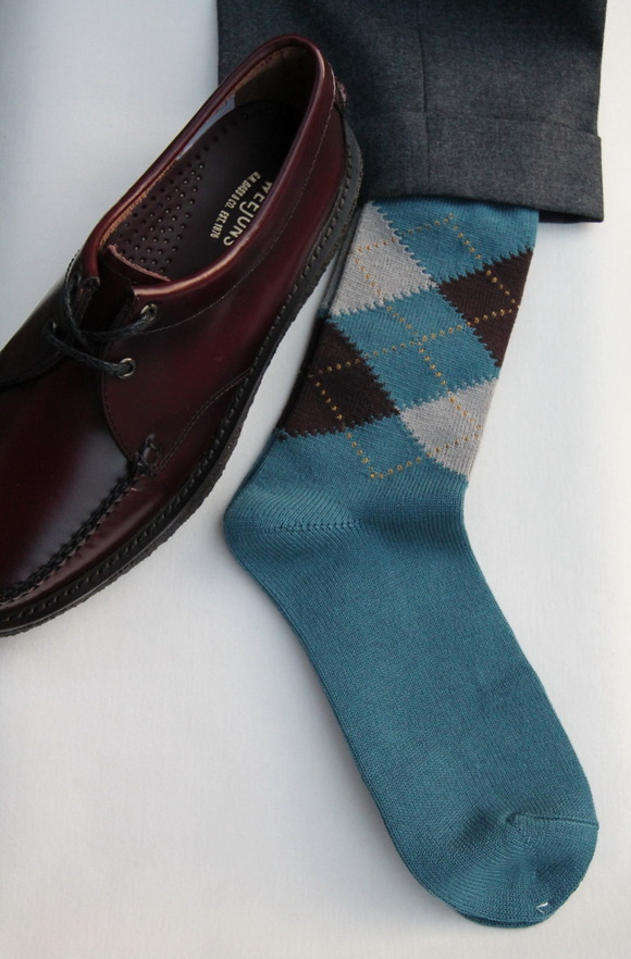 HALISON Dralon Cotton Argyle Socks BLUE