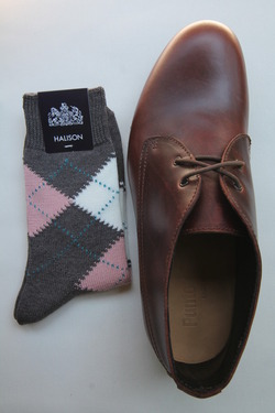 HALISON Dralon Cotton Argyle Short Socks GREY (2)