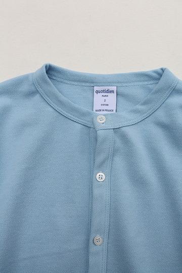 Quotidien Cotton Pique Crew Neck Cardigan BLUE IND (3)
