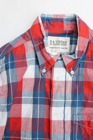 R & Vintage Triple Needle BD Shirt Indigo Check Broad Cloth (2)