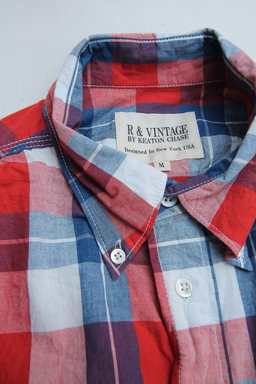 R & Vintage LS Triple Needle BD Shirt Indigo Check  (4)