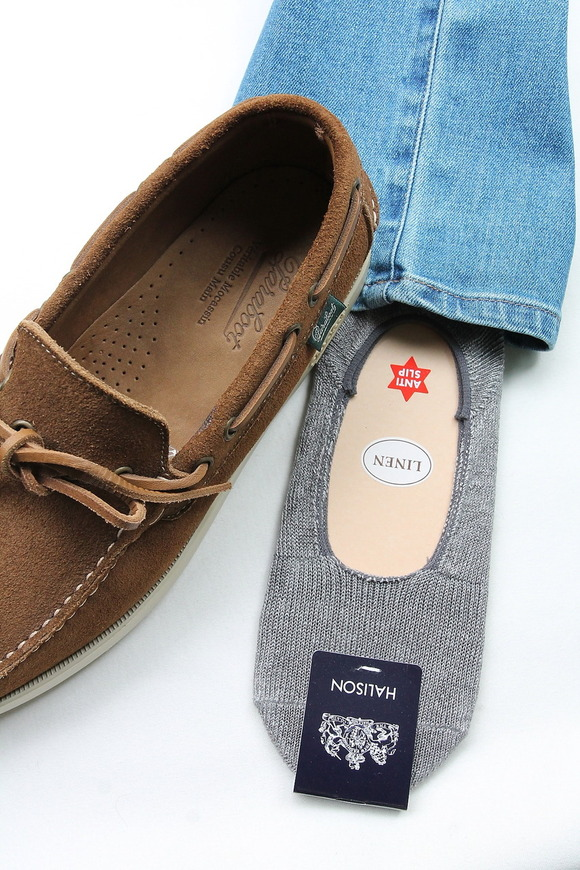 HALISON Melange Linen Lofers Socks GRAY
