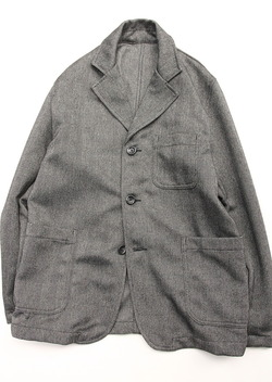 Harriss Tweedy Melange Herringbone Button GREY