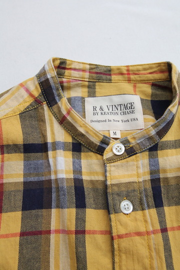 R & Vintage LS Band Collar Shirt Twill Check YELLOW (3)