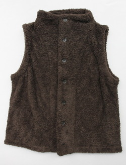 Le ciel de Harriss Boa Fleece Button Vest OLIVE