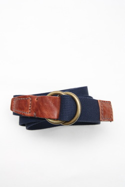 HALCYON Canvas & Leather W Ring Belt NAVY