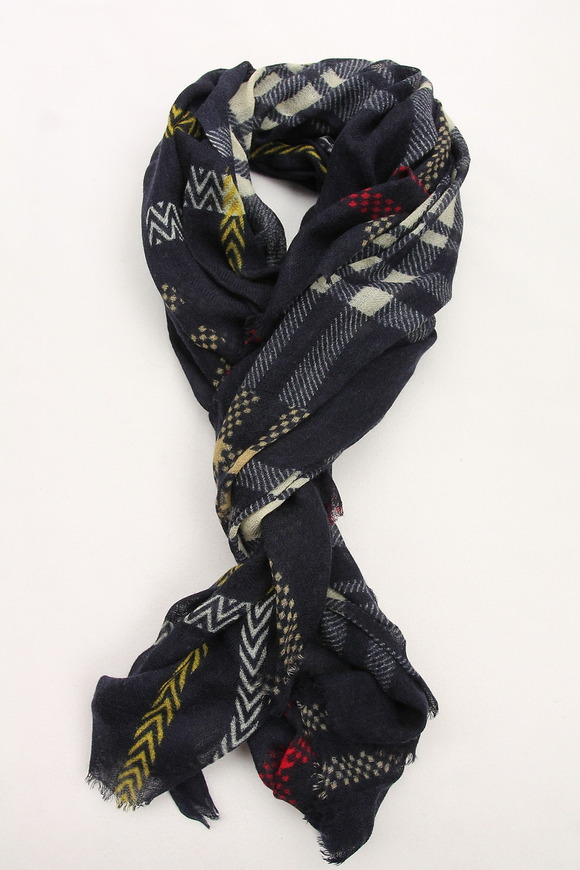 Glen Prince 3 Plaid Wool Stole NAVY