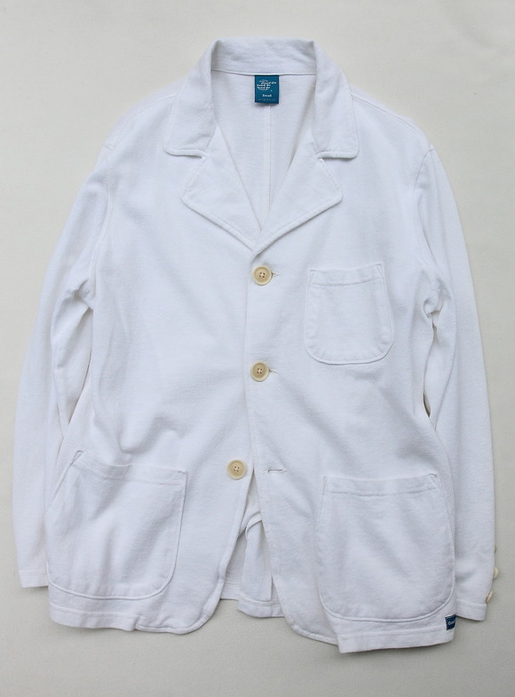 Goodon Cotton Mesh Pique 3 Button Jacket WHITE