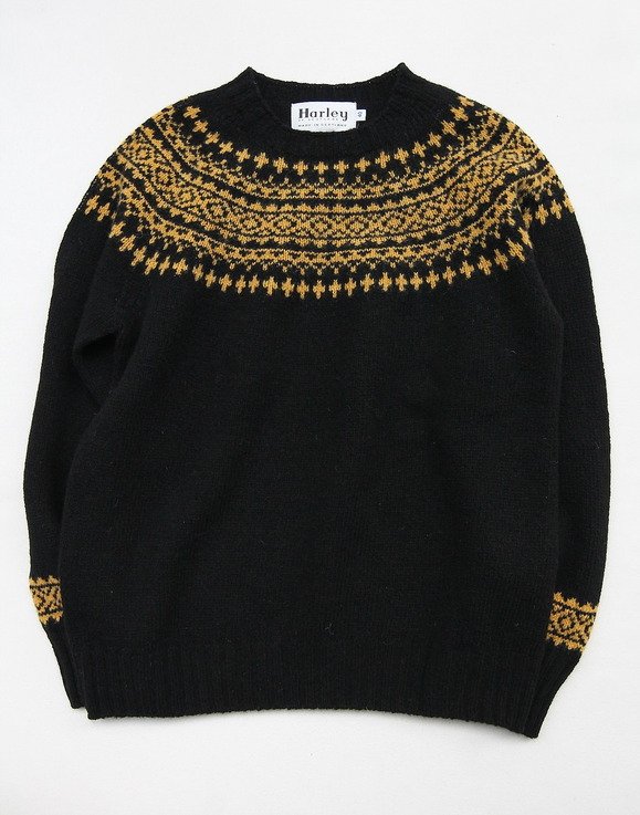 Harley Fairisle York 2Col Crew Neck BLACK NUGGET