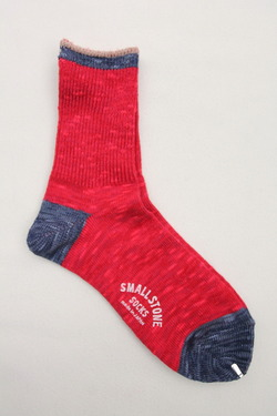 SMALL STONE Socks Cotton Slab Mix Crew RED (2)