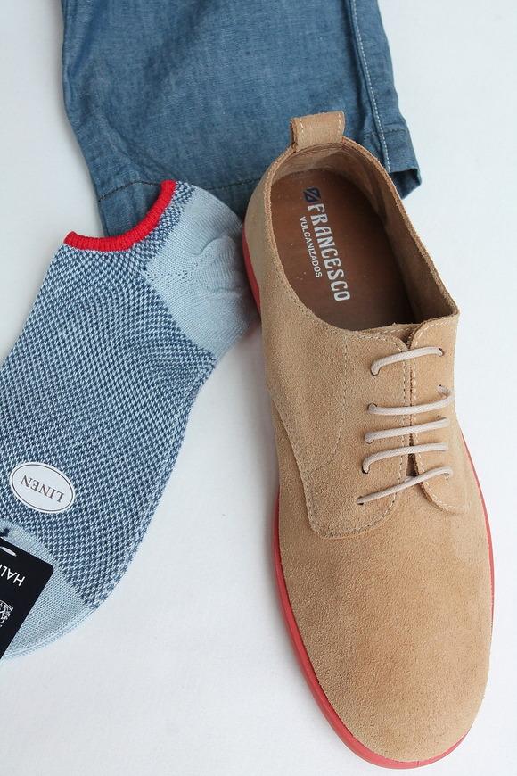 HALISON Melange Linen Mesh Ankle Socks SAX