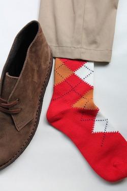 HALISON Dralon Cotton Argyle Short Socks RED