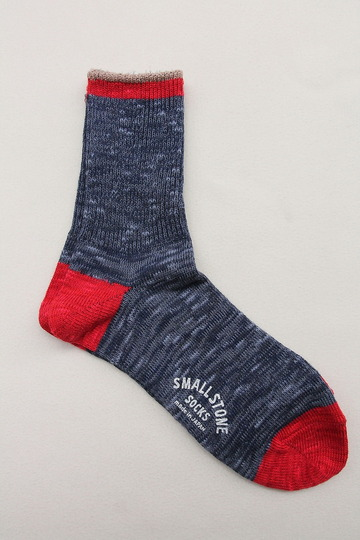 SMALL STONE Socks Cotton Slab Mix Crew NAVY (3)