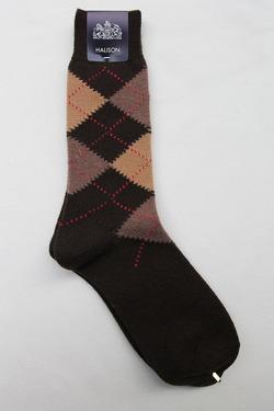 HALISON Mix Tasmania Lamb Wool Argyle Socks BROWN (3)