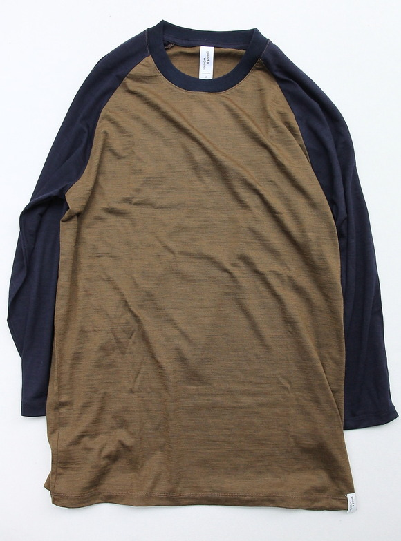 good & woolen 34 Raglan Tee BROWN NAVY