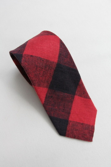 CANDIDUM Big Check Tie RED X BLACK