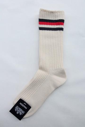 HALISON Organic Cotton IVY Crew Socks NAVY X RED (3)