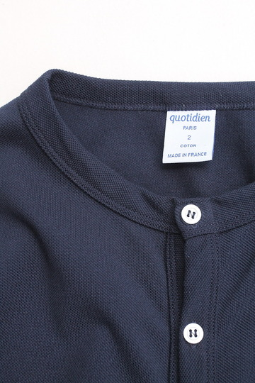 Quotidien Cotton Pique Crew Neck Cardigan NAVY (3)