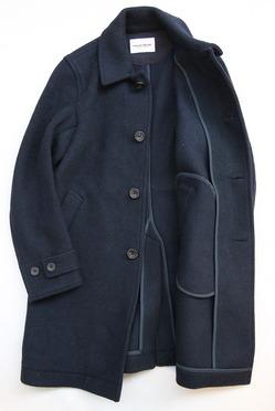 Vincent et Mireille Souten Collar Coat Melton Mossa NAVY (4)