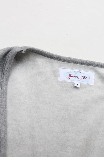 Flocon d ete Cotton Fleece Button Less Cardigan GREY (2)