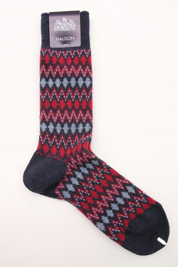 HALISON Mix Lamb Wool Zig Zag Dia Socks NAVY (3)