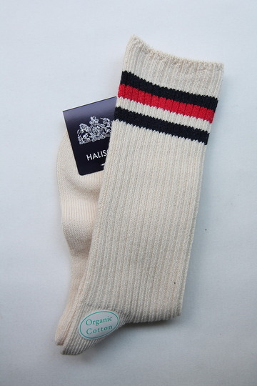 HALISON Organic Cotton IVY Crew Socks NAVY X RED (2)