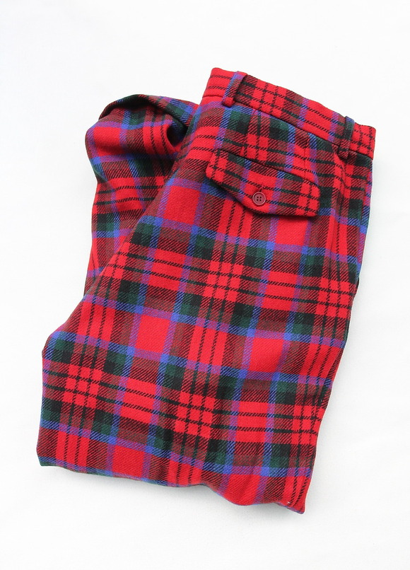 CESTERS 1 Pleats Trosuers  Burel RED Plaid
