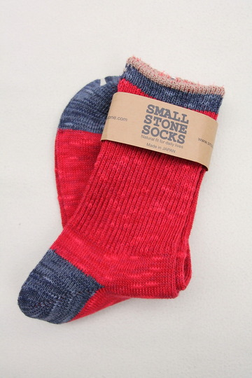 SMALL STONE Socks Cotton Slab Mix Crew RED (3)