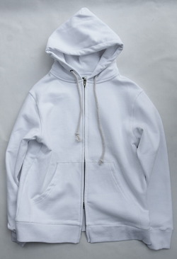 Arbre HW Cotton Fleece Zip up Sweat Parka WHITE