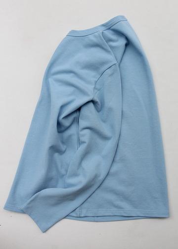 Quotidien Cotton Pique Crew Neck Cardigan BLUE IND (6)