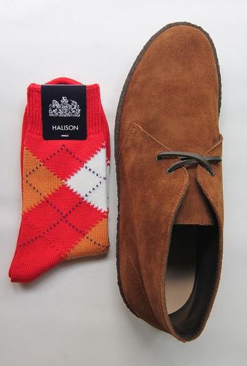 HALISON Dralon Cotton Argyle Short Socks RED (3)