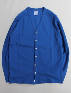 Quotidien Cotton Pique V Neck Cardigan ROYAL BLUE
