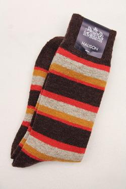 HALISON Doralon Multi Border Socks BROWN (2)