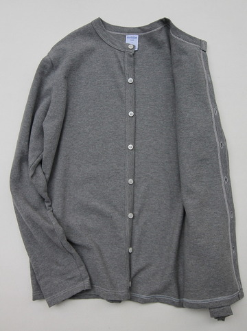 Quotidien Cotton Pique Crew Neck Cardigan Heather Grey (3)