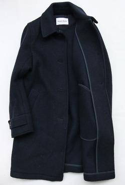 Vincent et Mireille Souten Collar Coat Melton Mossa W NAVY (4)
