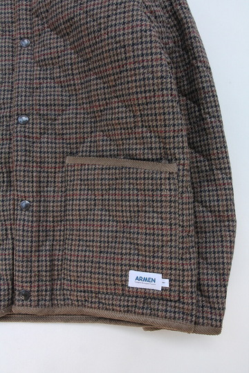 ARMEN Heat Quilt Reversible Hooded Jacket OLIVE Check X IRAQ (4)