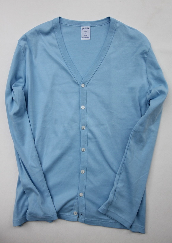 Quotidien 1X1 Rib Vneck Cardigan L BLUE