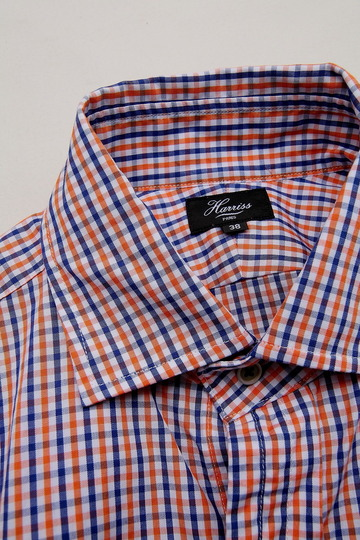 Harriss Plaid Shirt ORANGE X NAVY (4)