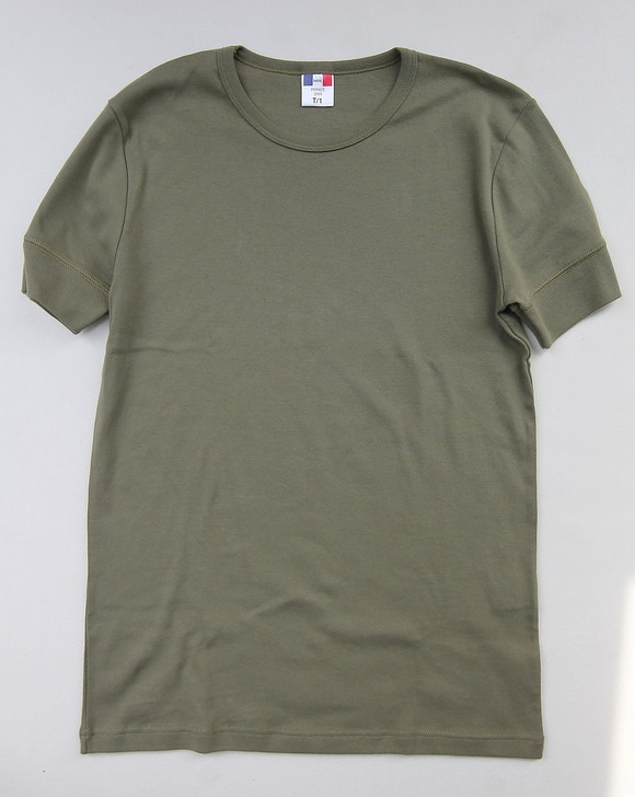 Bandol 1X1 Rib Short Sleave Military Crew OLIVE