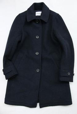 Vincent et Mireille Souten Collar Coat Melton Mossa W NAVY