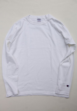 Champion T1011 Raglan Long Sleave Tee WHITE