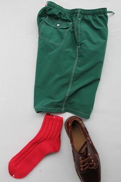 SMALL STONE Socks Cotton Big Rib Socks Ankle RED
