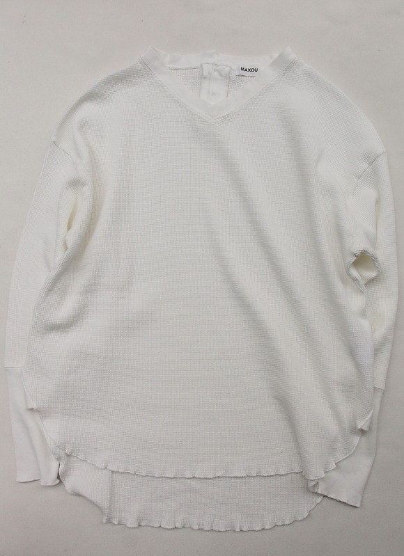 MAXOU Cotton  Waffle V&Button Neck WHITE (2)