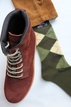 HALISON Mix Tasmania Lamb Wool Argyle Socks GREEN (3)