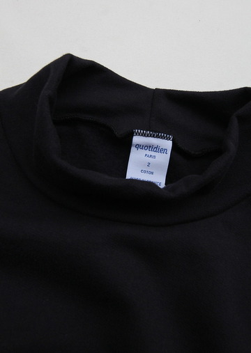 Quotidien Cotton Fleece Mock Neck NAVY (2)