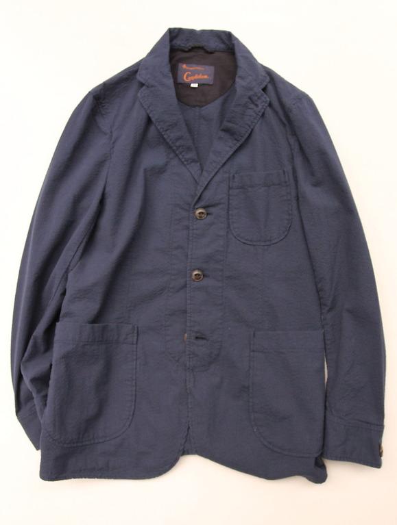 Candidum Seersucker Shirt Jacket NAVY