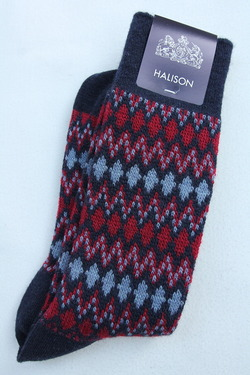 HALISON Mix Lamb Wool Zig Zag Dia Socks NAVY (3)