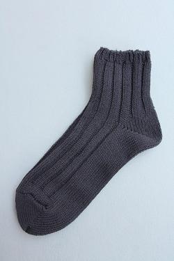 SMALL STONE Socks Cotton Big Rib Socks Ankle Gray (2)